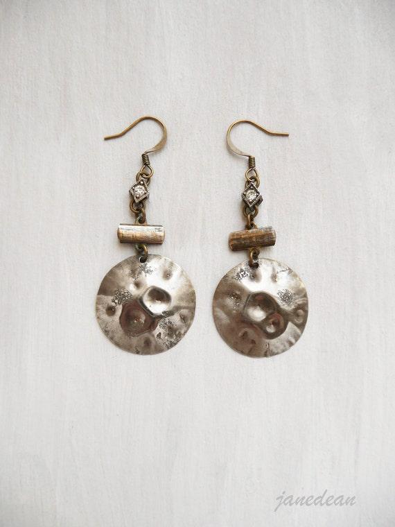 Full Moon Earrings - hammered charms on vintage findings