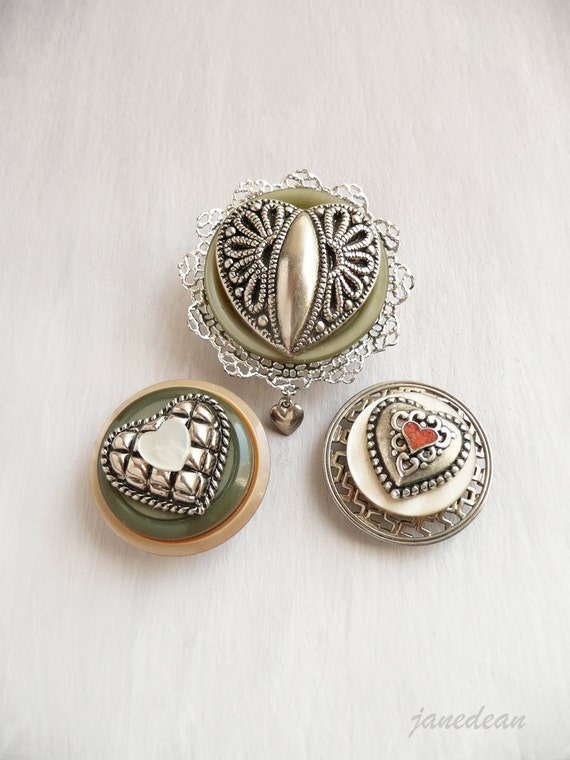 3 Heart Magnets - recycled jewelry and buttons
