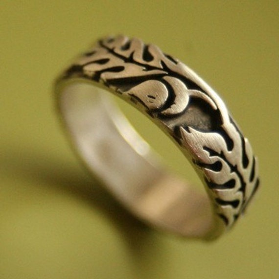 Wide Silver Oak Rings with Engraving for Jessica Gill