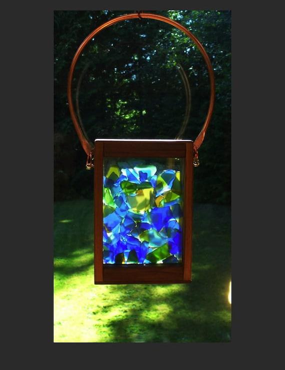 Suncatcher, Beach Glass, Stained Glass, Sea Glass, Copper