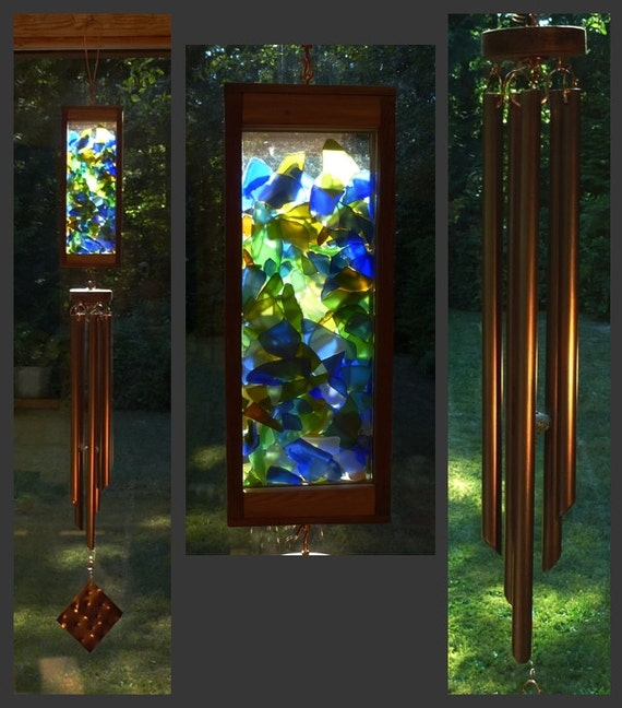 Wind Chime, Stained Glass, Sea Glass, Beach Glass, Copper, Windchime, Wind Chimes, Windchimes, Suncatcher