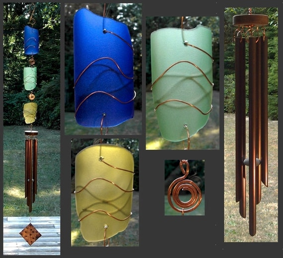 Wind Chimes, Glass, Sea Glass, Beach Glass, Green, Stained Glass, Copper, Windchimes, Windchime, Wind Chime, Sun Catcher