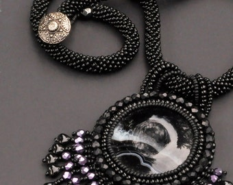Dolce Notte -  Black agate beaded necklace