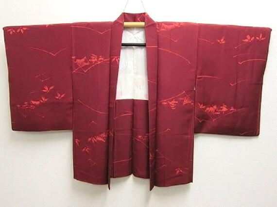 Japanese kimono haori - Vintage silk - Deep red