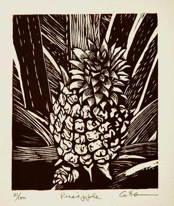 Pineapple / Handpulled Woodcut print / by Diane Cutter / SFA