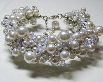 Bridal Pearl Bracelet  - pearl cluster bracelet