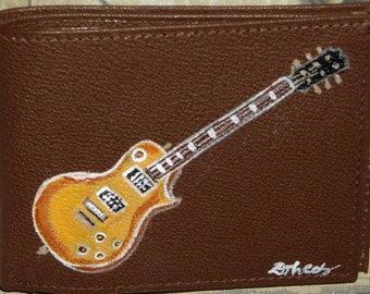 Guitar Custom Hand Painted Men's Leather Wallet
