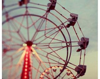 Fair Photograph - Ferris Wheel Photograph - Fine Art Photography - Summer - Fair - Lights - Original Art - Floating - Carnival Art - Bock
