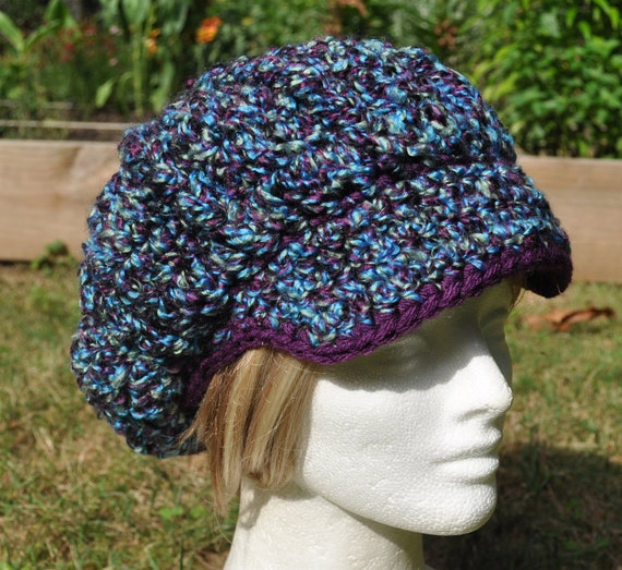 Multi-Colored Newsboy Hat in Blue, Green and Purple with Trim - Crocheted Hat for Winter