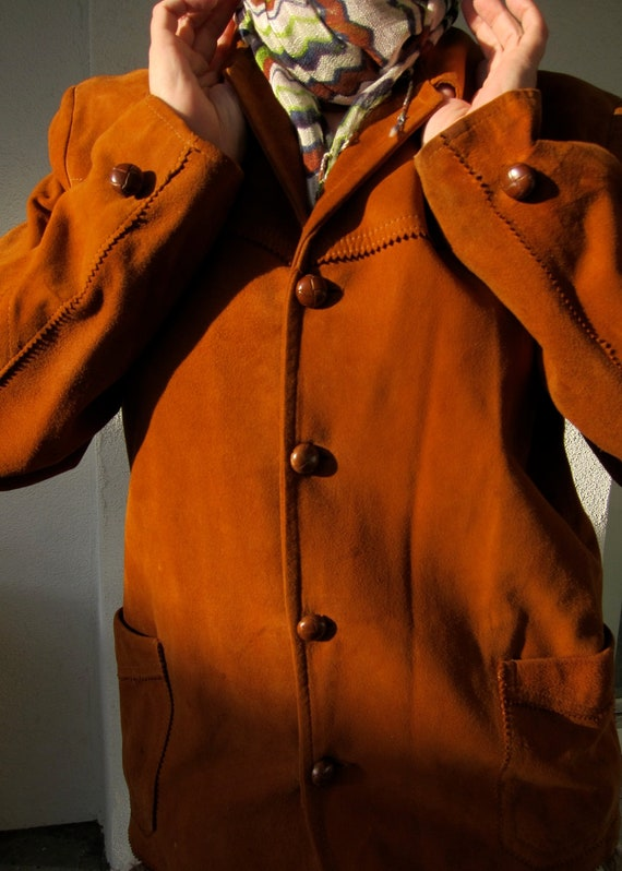 50s Cinnamon Rust Suede Vintage Jacket - Goatskin - Leather Buttons - Mid Century Bohemian Hipster - M