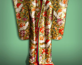 Vintage Junihitoe Style Silk Japanese Wedding Uchikake Kimono, Cranes and Sakura Motifs FREE SHIPPING