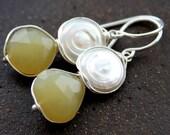 30 PERCENT OFF--Yellow Chalcedony n White Freshwater Pearl sterling dangle earrings-Handmade (er432)