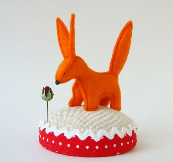 Rose and Fox Pincushion