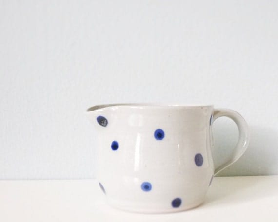 Stoneware pitcher with polka dots - handmade pottery grey gray indigo cobalt blue - modern ceramic