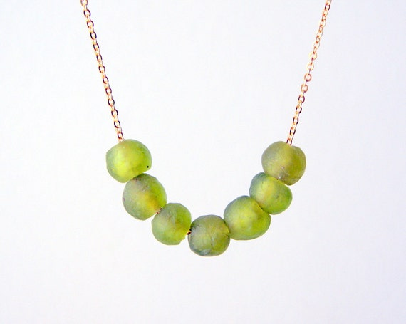 Peridot Recycled Glass Necklace - recycled glass beads - vintage chain - Eco Friendly - August Birthstone Color