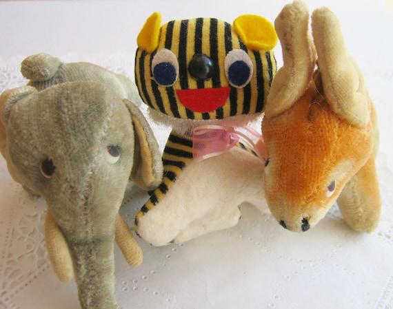 Tattered Animals Vintage Stuffed Toys Tiger Elephant Donkey Made in Japan