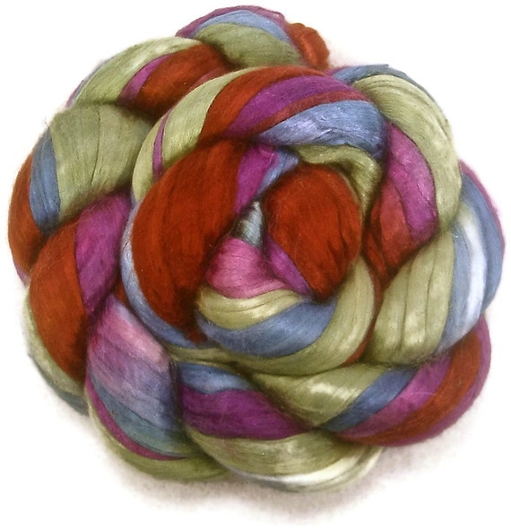 Handpainted Bombyx Silk Roving - 2 oz. POTTERY - Spinning Fiber