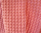 Textured Pink Wool Scarf - crocheted