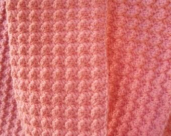 Textured Pink Wool Scarf - SALE crocheted neckwarmer, women's winter accessory in natural fibers, ooak honeysuckle pink 5ft long scarf