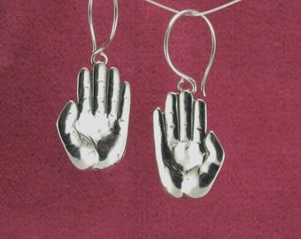 Protective Hands earrings, Sterling Silver, all handmade.