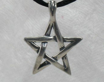 Star pentagram pendant, Woven star, Sterling silver