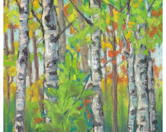 Early Autumn Birches Pastel Painting Art Print Drawing Forest Wall Art