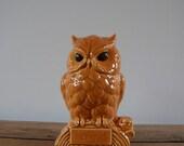 Vintage Chalkware Owl Coin Bank 'Be Wise Save'  Brown Orange