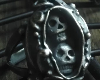 Memento Mori Day of the Dead Lover's Ring in Sterling