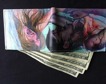 RW2 Zombie Shower Scene Art Wallet Handmade by Robert Walker