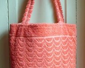 SPRING SALE 25% OFF - Vintage Towel Tote - Peach Waves