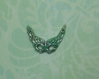Dollhouse Miniature Green on Silver Venetian Style Mask