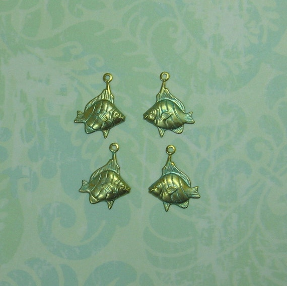Left and Right Brass Fish Charms with Verdigris Patina