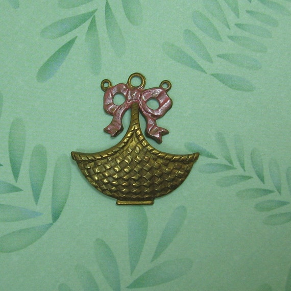 Lovely Vintage Brass Basket Pendant/Drop with Patina Bow