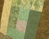 Earth Brown Yellow and Green Half-size Tablerunner or Wallhanging