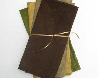 Warm Earth Brown, Pale Gold, Beige, and Green Cloth Napkins Set of 4