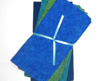 Ocean Blue, Turquoise, Green Cloth Napkins Set of 4