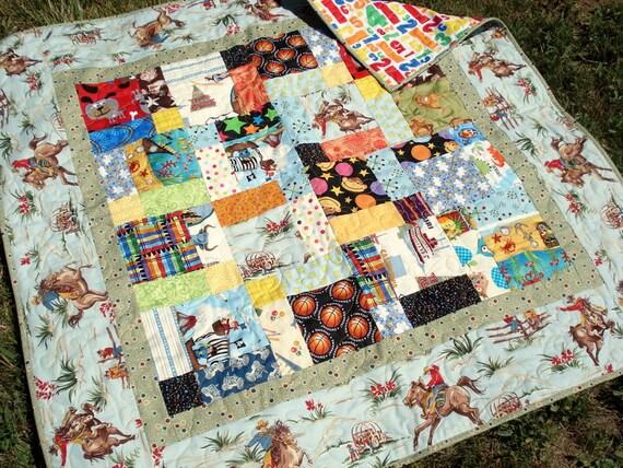 Cowboy Baby Boy Quilt - scrappy fun fabrics