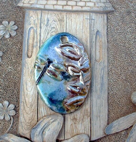 Dragonfly and Leaves Ceramic Raku Pendant
