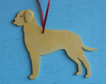 Yellow Labrador Retriever MiX Dog - Handpainted Wood Ornament Decoration