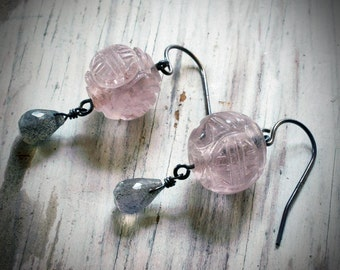 pale pink glass & grey labradorite chinese lantern earrings on oxidized sterling silver by val b.