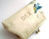 Monogrammed Wedding Clutch Kisslock Frame Silk Lined Bird Bridesmaid Bride Gifts Preppy Bridal
