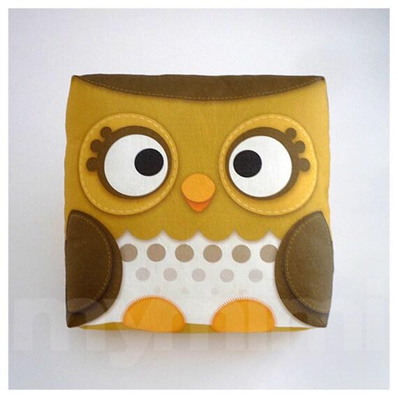 "Decorative Pillow, Owl Pillow, Forest Owl, Woodland Animal, Brown, Throw Pillow, Cushion, Kawaii, Room Decor, Owl Decor, Gift, Toys, 7 x 7"""