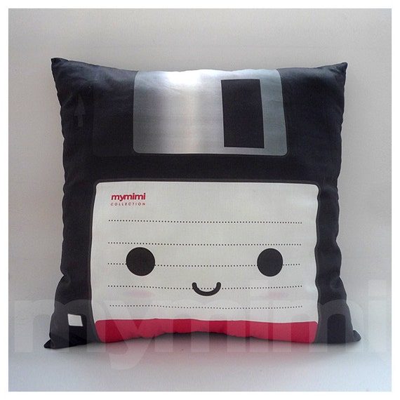 "Decorative Pillow, Floppy Disk, Geekery, 80's, Retro, Techie, Cotton Pillow, Throw Pillow, Room Decor, Office Decor, Cushion, 16 x 16"""