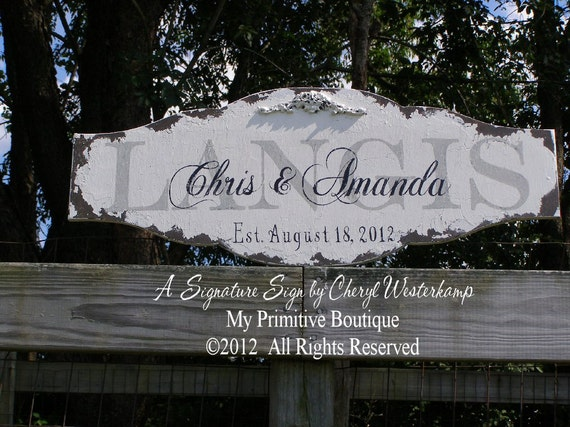CUSTOM NAME SIGN, Personalized Name Sign, Vintage Wedding Sign, Wedding Gift, Vintage Name Sign, Established Sign, Just Married, 30 x 12