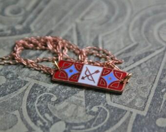 Sagittarius Zodiac Necklace / Enamel / Art Nouveau / Gift