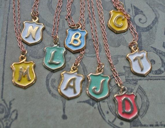 monogram crest necklace - vintage chain necklaces