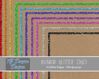 Rainbow Glitter Edges Borders Frames Printable 12x12 - For Invitations, Photographers