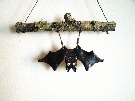Spooky Stoneware Bat Wall Hanging or Mobile, Made to Order