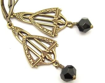 Art Deco Earrings, Vintage Swarovski Crystals, Black Dangle Earrings, Wedding Jewelry, Antiqued Goldtone, Bridesmaid Jewelry, Hawaiibeads
