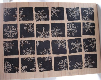 snowflake tile large rubber stamp